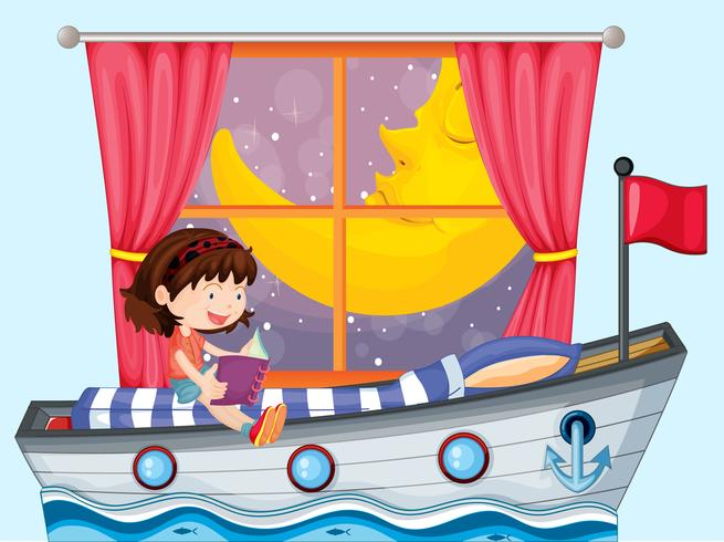 Un bateau dans la maison avec une fille qui lit