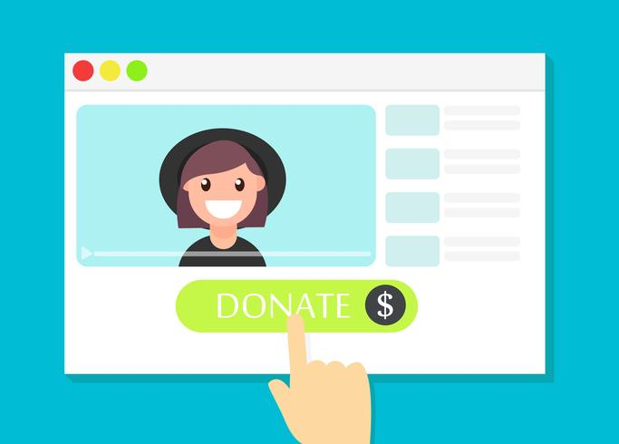 La finestra del browser con il pulsante Dona. Soldi per i videoblog. Illustrazione piatta vettoriale