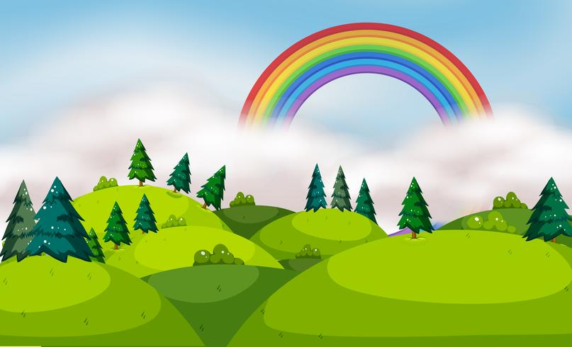 Un bellissimo paesaggio di montagna e arcobaleno