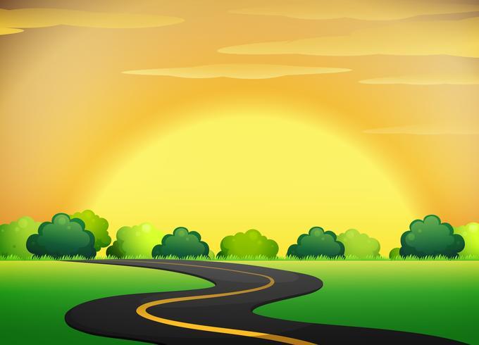 Vägen med Golden Sky Landscape