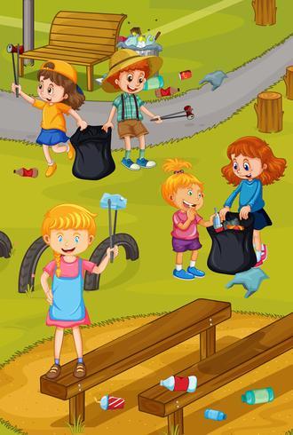 Vrijwilligerskinderen die Park schoonmaken