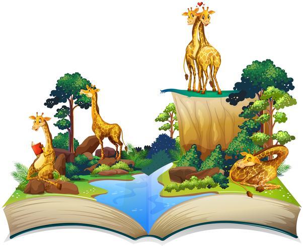 Bok av giraffer som bor vid floden