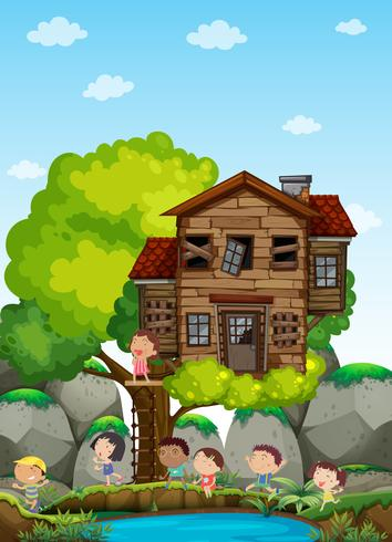 Enfants jouant dans la cabane