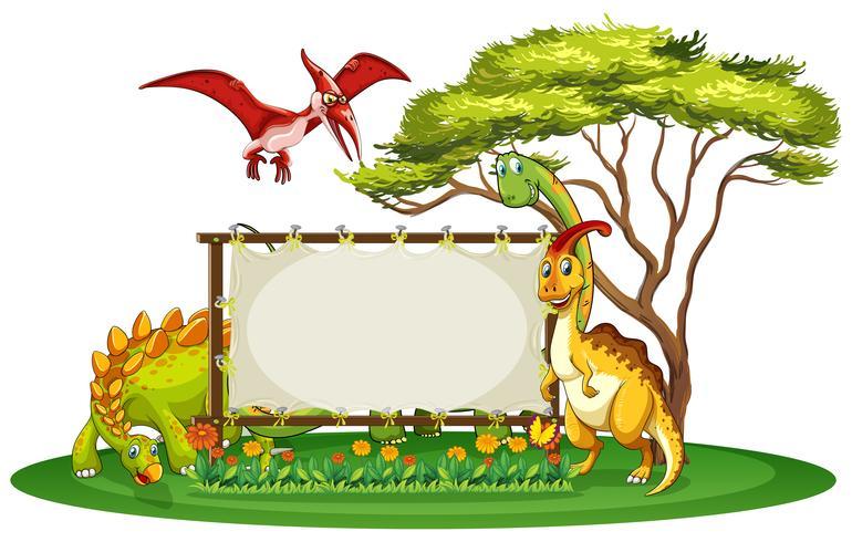 Plantilla de banner con muchos tipos de dinosaurios.