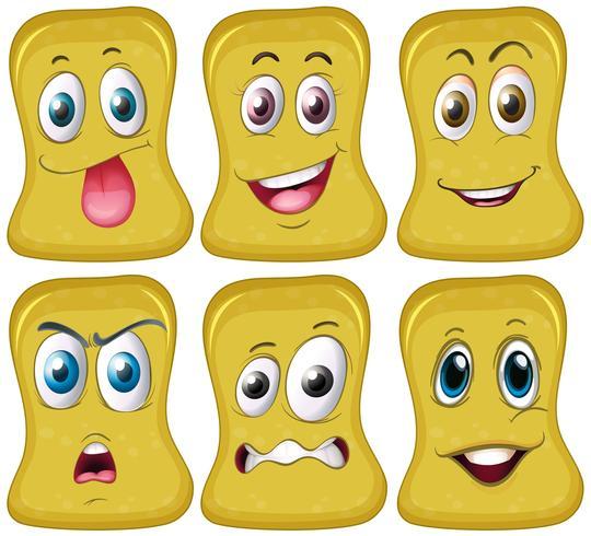 Sei facce diverse in forma gialla