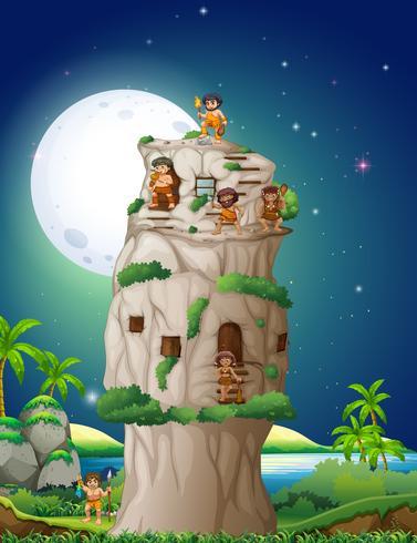 Grotta människor som bor i stenhuset