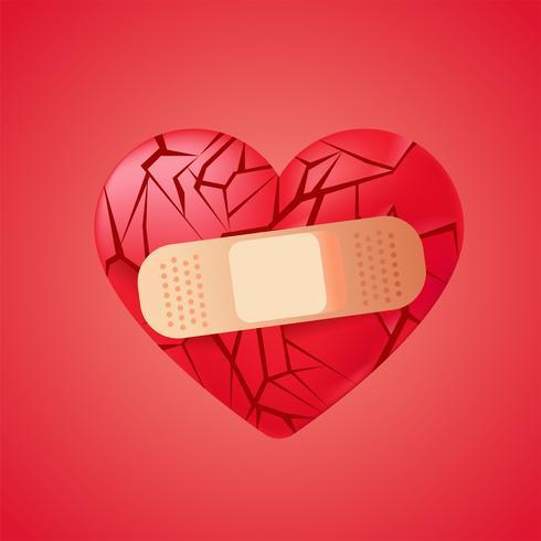 Corazón roto sellado con vendaje médico. Fragmentos de cristal rojo. Vector realista ilustración
