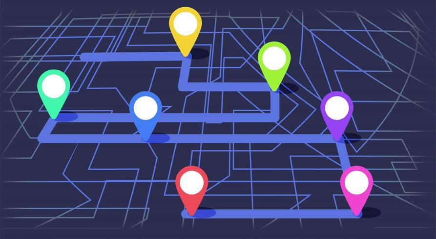 Digitale kaart met kleurrijke zeven punten. De manier van stad navigeren met het begin en het einde. Vector banner infographic