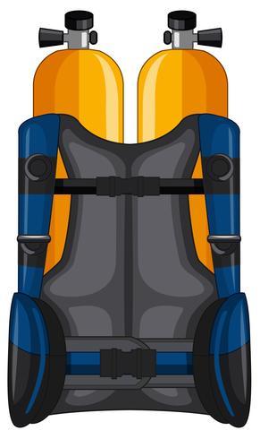 Tanque de oxigênio e jaqueta de segurança