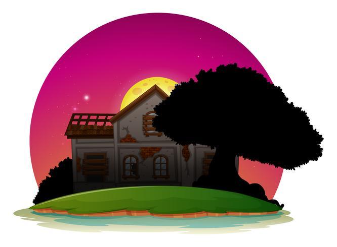 Altes Haus auf der Insel in der Nacht