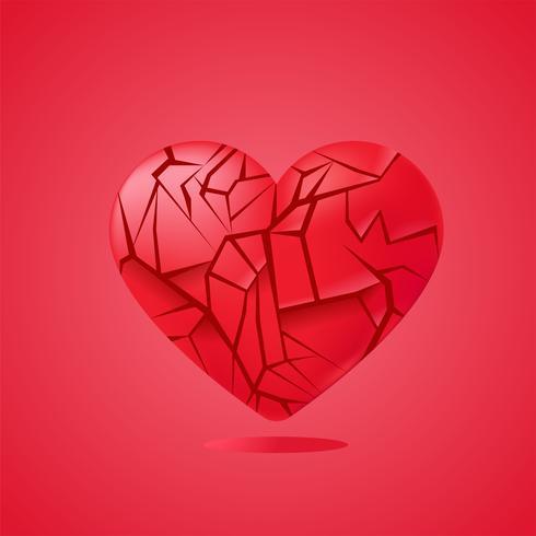 Gebrochenes Herz versiegelt isoliert. Rote Glasscherben. Vektor realistische Darstellung