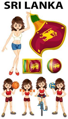 Sri Lanka flagga och kvinna idrottare
