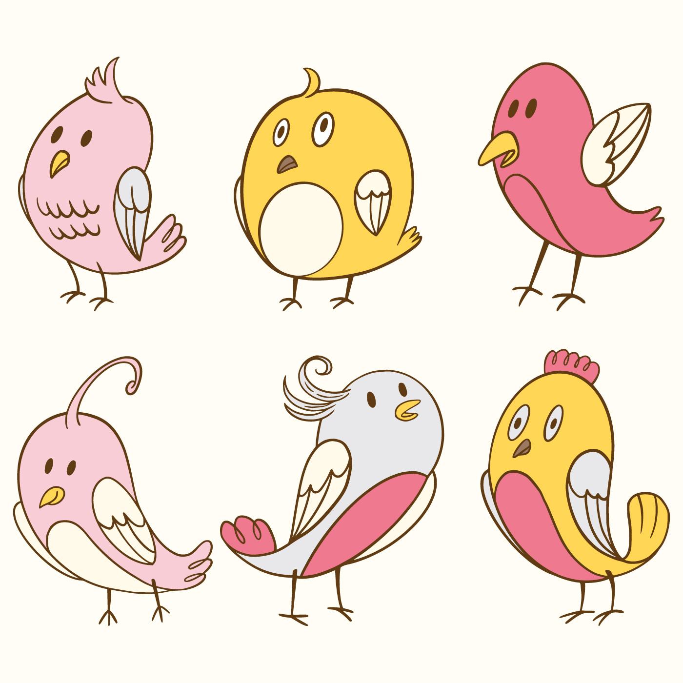 Cute Bird Clipart Element Set - Download Free Vectors ...