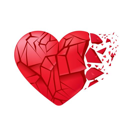 Broken heart sealed isolated. Red glass shards. Vector realistic illustration