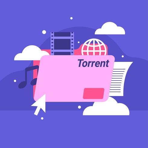 Torrent-bestand platte Vector