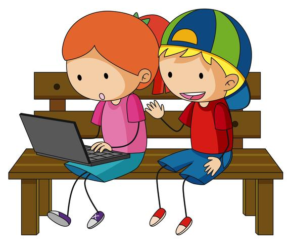 Dos niños trabajando en la computadora portátil