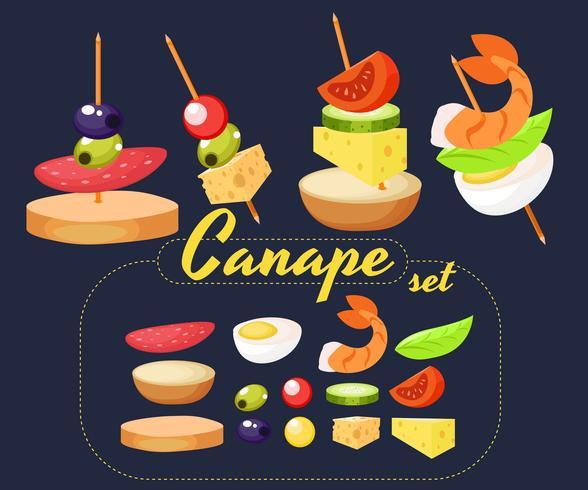 Canape Set Designer. Ilustração realista de vetor