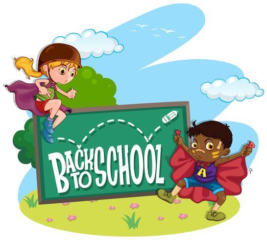 Kinderen en terug naar school ondertekenen