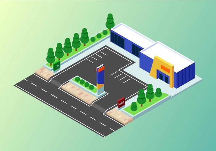 Conjunto de edificios industriales isométricos vector