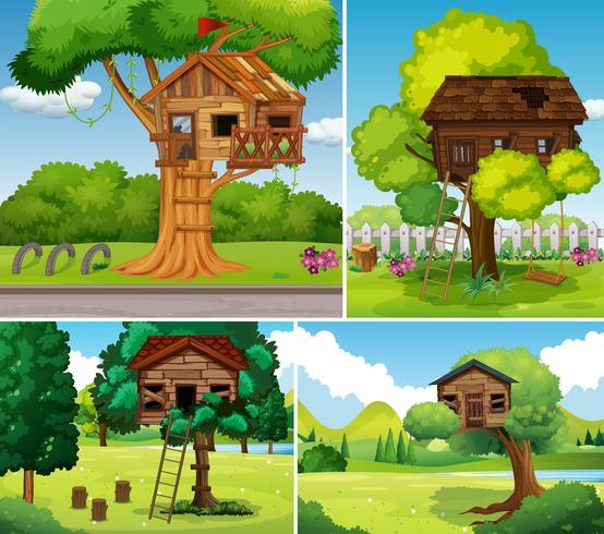 Viejas casas en los arboles en el parque