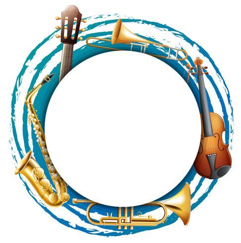 Marco redondo con instrumentos musicales.
