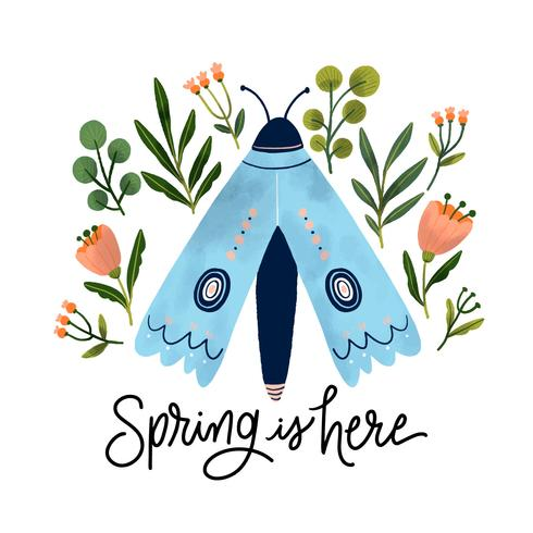 Cute Blue Butterfly With Botanical Flowers And Leaves Around