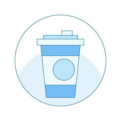 Pictogram met een kopje koffie in het blauw. Mok in een cirkel. Vector platte lijn illustratie