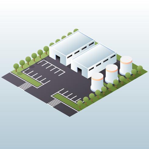 Magazijn Industrieel Gebied Isometrische Concept Illustratie