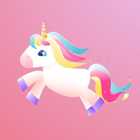 Unicornio volando por el cielo. Ilustración vectorial de dibujos animados