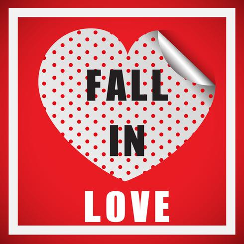 Valentine card template with word fall in love