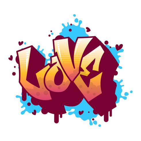 Ilustración moderna plana del vector de las letras de amor de la pintada