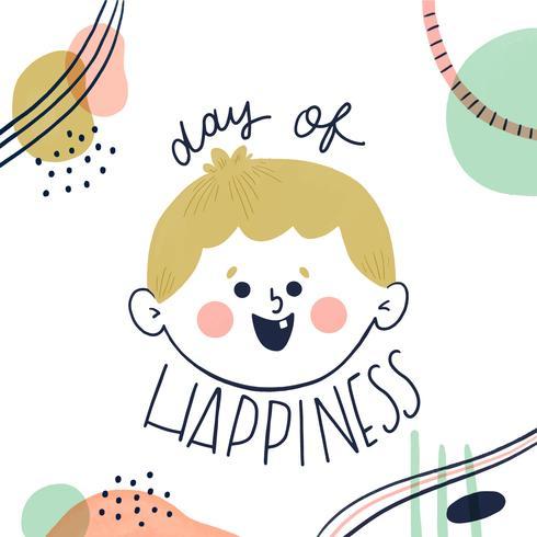 Leuk Jongenskarakter die met Abstracte Vormen rond aan Dag van Happinnes glimlachen
