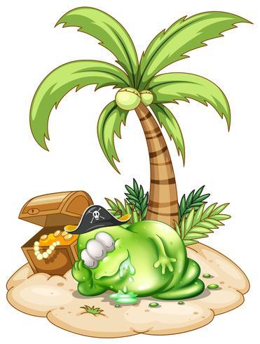 Een slapend piraatmonster onder de kokospalm