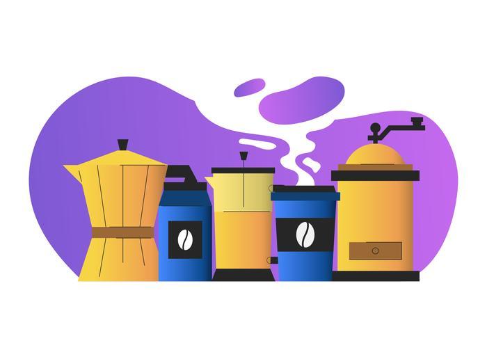 Conjunto de imágenes de elementos gráficos de café ilustración vectorial