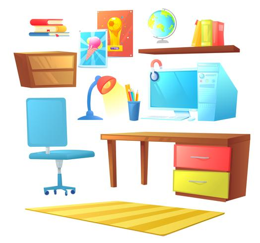 Workplace room interior design set object. With bed, workplace with desk and pc computer, shelves and book. Vector cartoon illustration