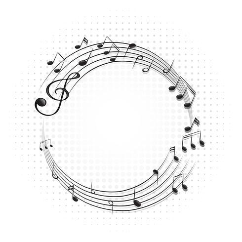 Marco redondo con notas musicales en escalas. vector