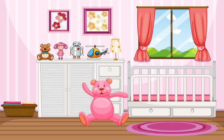 Bedroom scene with pink teddybear and white crib vector