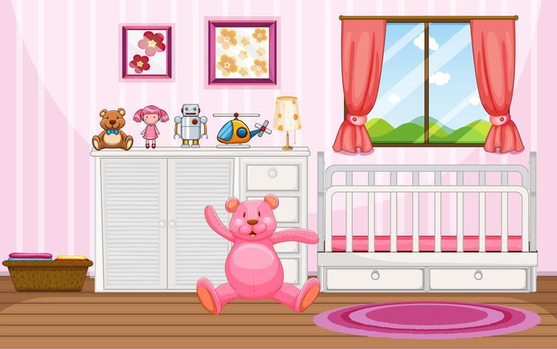 Sovrumscen med rosa teddybjörn och vit spjälsäng