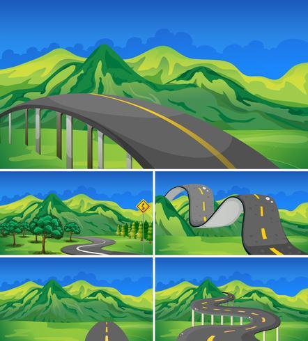 Cinque scene di strade vuote verso le montagne