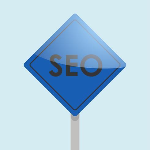 Road sign seo. Search Engine Optimization banner. Vector flat illustration