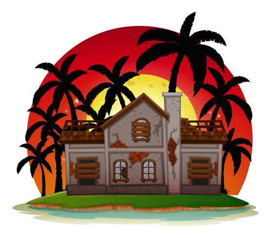 Spookhuis op eiland bij zonsondergang