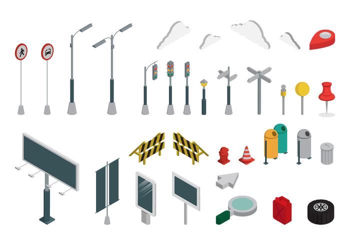 Isometrische industriële gebouwen Set en Asset