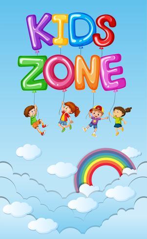 Disegno del manifesto con i bambini in cielo blu