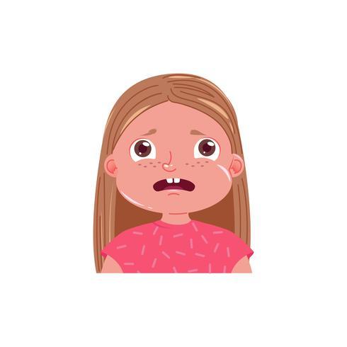 La niña linda tiene miedo. Niño asustado de la emoción. Ilustración vectorial de dibujos animados vector