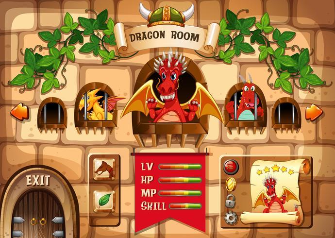Plantilla de juego con fondo de dragón y castillo