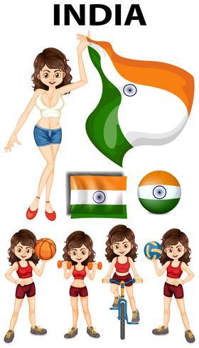Niña india haciendo diferentes deportes