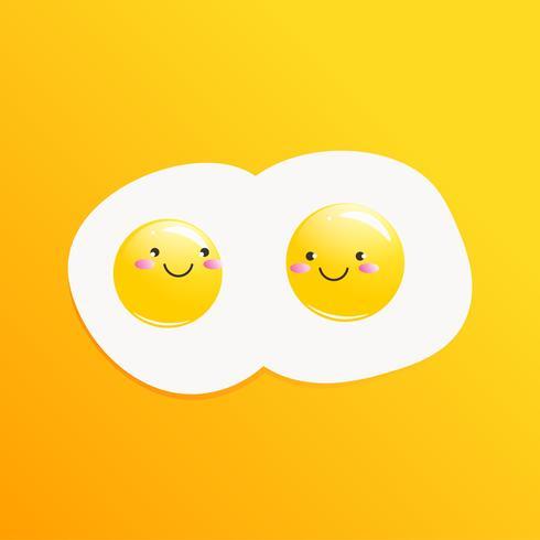 Klassiek smakelijk ontbijt van eieren. Vector cartoon illustratie