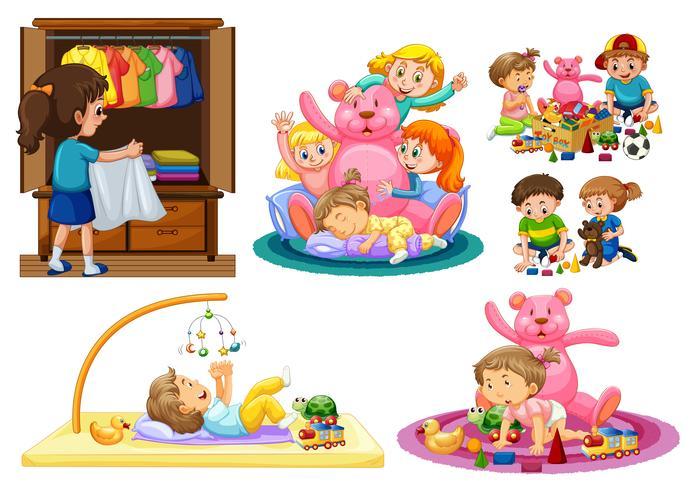 Schattige kinderen spelen in huis