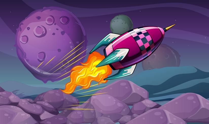 Escena con cohete volando sobre la luna.