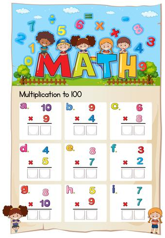 Planilha matemática para multiplicação a cem